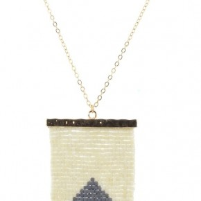 Cream & Grey Beaded Shield Necklace