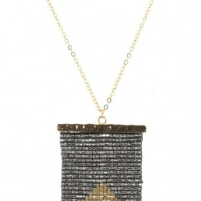 Hematite & Gold Beaded Shield Necklace