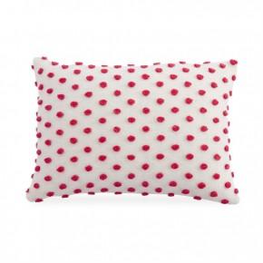 Lumbar White & Red Pom Pom Pillow