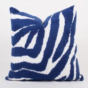 Blue & White Zebra Looped Terry Throw Pillow