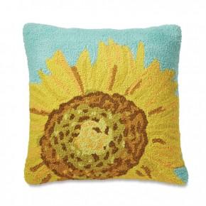 Sunflower Hooked Wool Pillow