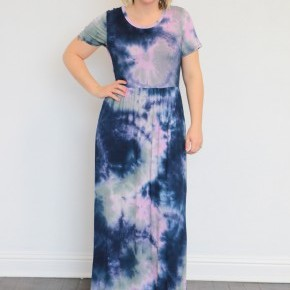 There It Is Again Tie-Dye Maxi Dress In Navy - Sizes 12-20