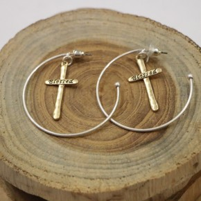 Extremely Blessed Hoop Earrings In Gold & Silver
