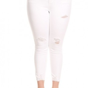 The Tracy Distressed White Jeans - SIzes 12-20