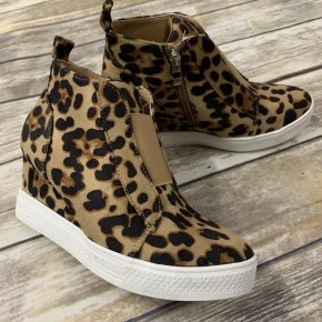 Hurry On Over Wedge Sneaker In Leopard - Sizes 6-10