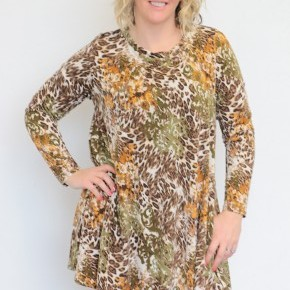 Find Another Way Leopard Mix Print Dress In Olive - Sizes 12-20