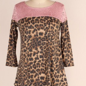 Tell Me Now Leopard & Lace Top in Mauve - Sizes 4-20