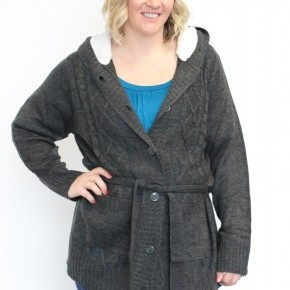 Pleasantville Sherpa Lined Cable Knit Cardigan In Charcoal - Sizes 12-20