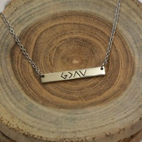 God Is Greater Than The Ups And Downs Bar Necklace In Silver