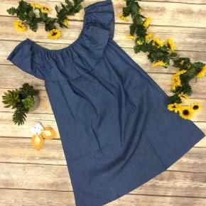 Ruffled Off-The-Shoulder Denim Dress - Sizes 4-12