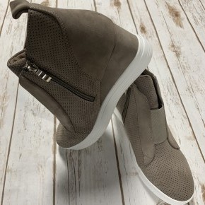 Hurry On Over Wedge Sneaker In Taupe - Sizes 6-10