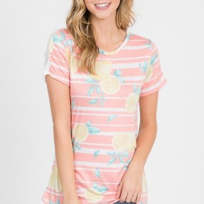 Sing A Little Louder Stripes & Lemon Short Sleeve In Coral - Sizes 4-10