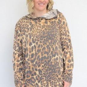 We're Heading Up Down Leopard Hoodie - Sizes 4-20