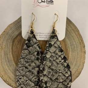 Slithering Through Snakeskin Leather Earrings In Metallic
