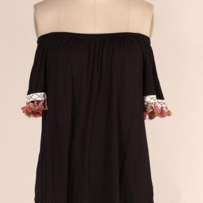 You Say It Best Tassel Off The Shoulder Top in Black - Sizes 4-20