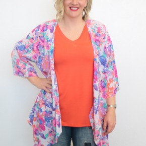Just A Little More Floral Kimono In Ivory - Sizes 12-20