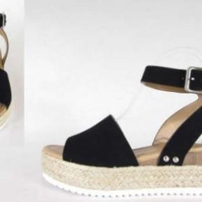 One Step Higher Espadrille Sandals - Black
