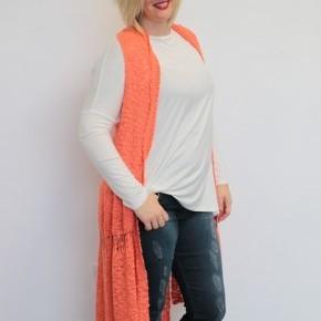 Over The Hill Crochet Kimono Vest in Coral