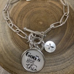 God's Got This Chainlink Charm Bracelet In Silver
