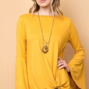 Forever Your Girl Bell Sleeve Top in Gold - SIzes 4-10
