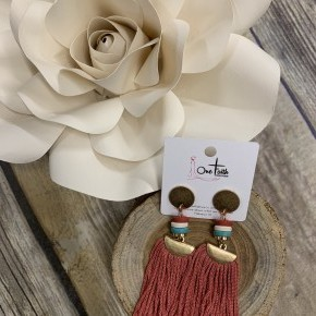 Back To Yesterday Rose Tassel Earrings With Multi-color Beads