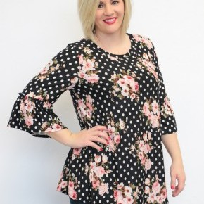 Follow The Flowers Polka Dot Top in Black - Sizes 4-20
