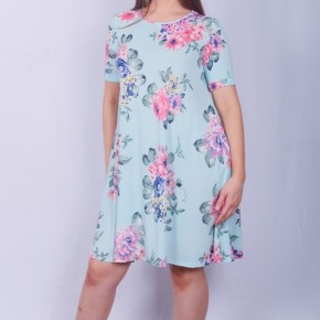 She's a Lucky One Aqua Floral Dress - Sizes 4-20