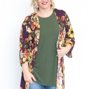 Simply Radiant Floral Cardigan in Purple - Sizes 12-20