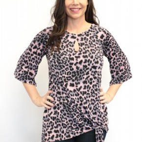She Took It Leopard 3/4 Sleeve Top With Knotted Hem In Pink- Sizes 4-10
