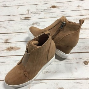 Hurry On Over Wedge Sneaker In Camel - Sizes 6-10