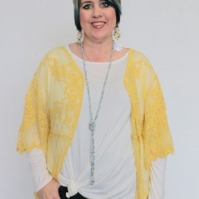 No More Shame Crochet Kimono In Mustard - One Size
