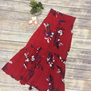Flowy Boho Button-Up Skirt in Red - Sizes 4-12