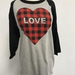 "Buffalo Plaid Heart ""Love"" Raglan with 3/4 Black Sleeves ~ Sizes 4-20"