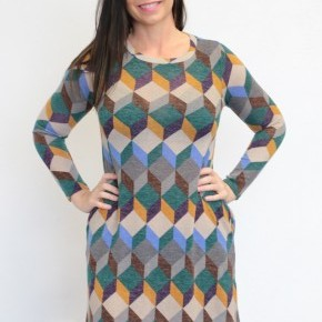Make Up Your Mind Geometric Print Swing Dress In Deep Teal - Sizes 4-20