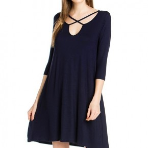 Look All Around Dress With Criss Cross Neck In Black - Sizes 4-12