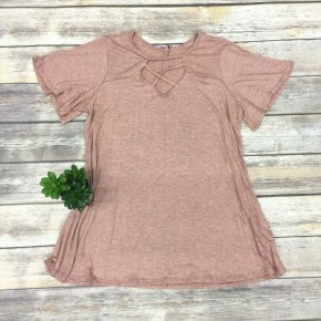 Never Let Go Short Sleeve Top With Criss Cross Neck In Mauve- Sizes 4-18