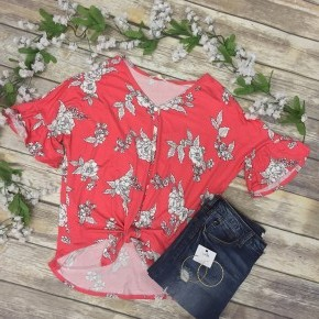 Let's Be Honest Floral Top With Tie Front In Coral - Sizes 4-10