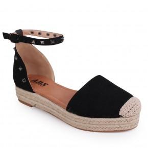Take Me Higher Espadrille Flatform Sandals - Black