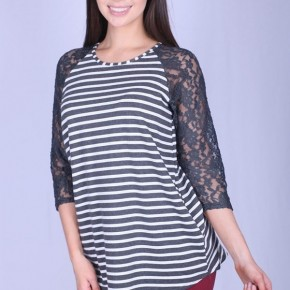 Careless Whisper Striped & Lace Raglan Top in Gray - Sizes 4-20