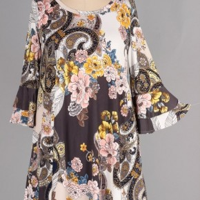 In An Open Field Floral & Paisley Print Dress In Ivory - Sizes 12-20