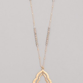 Have It Your Way Long Necklace With Beaded Accent In Gray