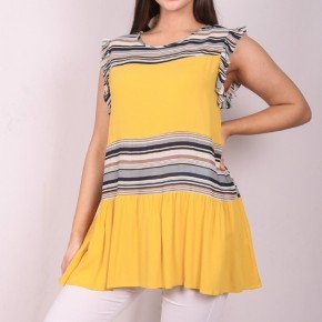 I'm The One Flutter Sleeve Tunic in Mustard - Sizes 4-20