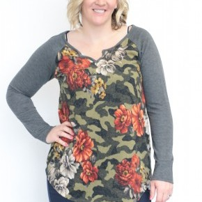 With Everything I've Got Floral Contrast Top With Gray Sleeves - Sizes 12-20