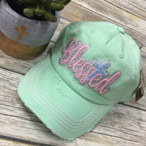 Blessed Bedazzled Cross Ball Cap In Mint