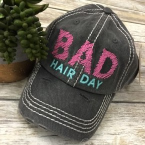 Bad Hair Day Distressed Ball Cap In Charcoal