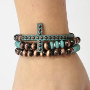 Ay Caramba Three Stranded Cross Stretch Bracelet In Turquoise & Bronze