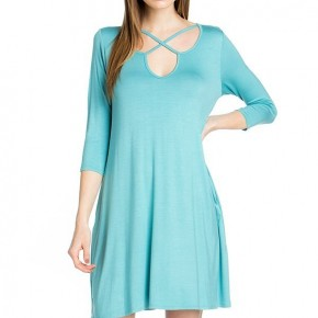 Look All Around Dress With Criss Cross Neck In Turquoise - Sizes 4-12