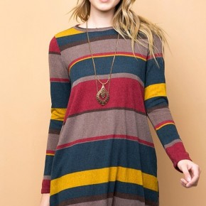 Nothing's Gonna Stop Us Now Striped Dress In Burgundy - Sizes 4-10