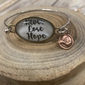 Never Lose Hope Bangle Charm Bracelet In Silver