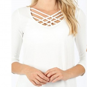 Lots Of Love Lattice Front Tunic Top in Ivory - Sizes 4-12